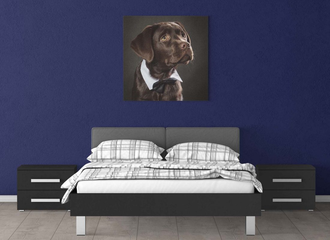Slaapkamer, bruine  labrador, wanddecoratie
